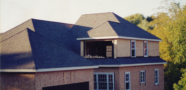 Completed roof of a newly built home