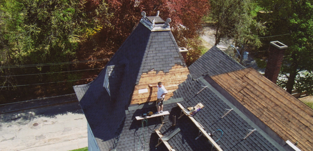 Replacement of shingles in progress